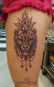 лев с лотосом эскиз не мой арт студия Dopingtattoo