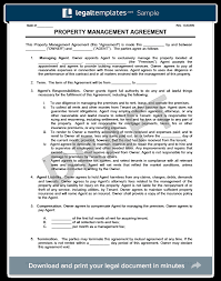 Apartment Manager Duties Property Management Agreement Create Download A Free Contract