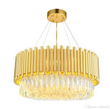 luxury modern crystal chandelier round gold hanging chandeliers indoor lighting fixture with iron clear crystal for living room pendant fixtures