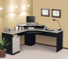 furniture furniture counter idea black wood office. Furniture. Corner Black Wooden Computer Table With White Counter Top Plus Keyboard Shelf And Furniture Idea Wood Office O