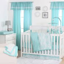the peanut shell 3 piece baby crib bedding set teal blue turquoise medallion print 100 cotton quilt crib skirt and sheet com