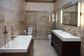 modern small bathroom design unique chandelier diamond tile flooring wall mounted towel racks dark brown finish