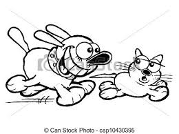 Small Picture Stock Illustration of Cat and dogOL Cartoon of dog chasing cat