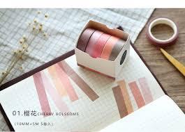 <b>5 Pcs</b>/lot <b>5M simple</b> Decorative Paper Green Pink Purple Washi ...