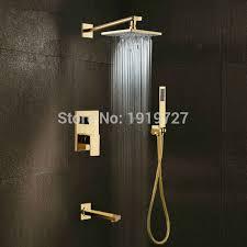 bathroom shower faucets. Gold Brass Rainfall Shower Head Widespread Waterfall Tub Mixer Tap Bathroom Bath Faucet Set Wall Faucets U