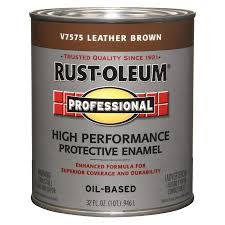 rust oleum professional leather brown gloss oil based enamel interior exterior paint actual net contents 32 fl oz