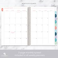 Monthly And Weekly Planners Weekly Planner Pink Watercolor Stripes Personalized Planners By Posy Paper Co