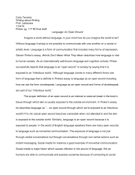 essay language open wound