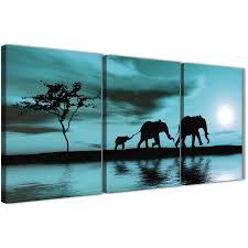 oversized teal african sunset elephants canvas wall art print split 3 piece 125cm wide for your display gallery item 1  on african elephant canvas wall art with teal african sunset elephants canvas wall art print multi 3 set