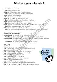 What Are Interests English Worksheets What Are Your Interests
