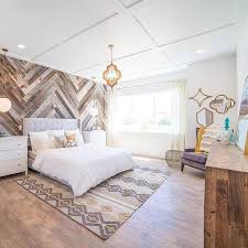 reclaimed barnwood in a diagonal pattern and a oordinating rug