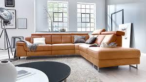 Interliving Sofa Serie 4050 Eckkombination Kurkumafarbenes Longlife Leder Cloudy Chromfüße Schenkelmaß Ca 300 X 2
