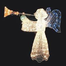 super ideas outdoor angel lighted decorations trumpet lights
