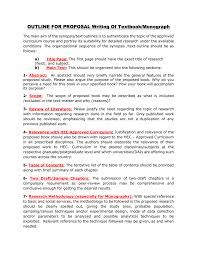 Outline For Proposal Writing Of Textbook Monograph