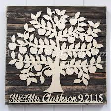 personalized wedding guest book wooden sign for 200 guest bridal shower gift rustic wall decor custom family tree wall art