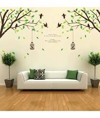 wall sticker wall stickers falling leaves birds cage giant size double sheet wall stickers for kitchen wall sticker