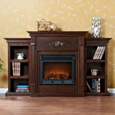 stylish electric fireplace with bookcases within shelves southern popular enterprises tennyson espresso bookshelf coursecanary leather coffee