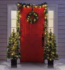 front door wreath hangerChristmas Decorations Front Door Wreath Garland 2 Trees Hanger Set