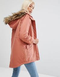 noisy may parka with faux fur hood women cedar wood coats noisy may macy leather