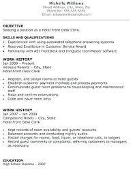 Hotel Front Desk Sample Resume Hospitality Hotel Front Desk Resume