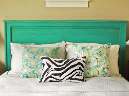bedroom: Wooden Simple Headboards Under Nice Picture On Plain Wall Paint  Near Practice Nightstands On
