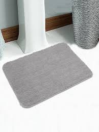 saral home set of 2 grey microfibre anti slip bath rugs