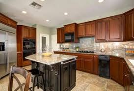 5 tags Traditional Kitchen with Golden Cascade Granite Countertop, Sand  Ceramic Tile, OPR3 RTF Cabinet Doors