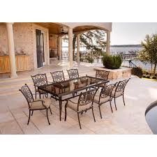 hanover traditions tan 9 piece dining set with extra long gl top dining