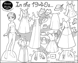 In The 1940s Paper Doll Coloring Page Paper Doll 7 Paper