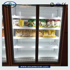 integral glass door display fridge used as convenience refrigerator for beverage and dairy