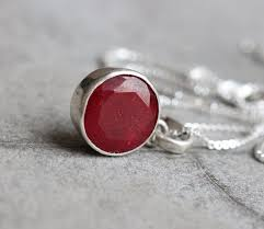 ruby pendant red pendant silver gemstone pendant july stone