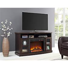 espresso tv stand console with fireplace glass doors