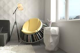 super creative round reading armchair with bookshelf between window and tripod floor lamp