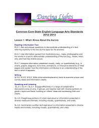 Common Core State English Language Arts Standards 2012 2013