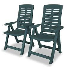 vidaxl reclining garden chairs 2 pcs plastic green 1 8