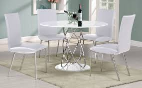 eclipse white high gloss dining set chrome with glass base 1150w round x 760h 4 pu chrome chairs