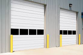 image of garage doors with windows at middle