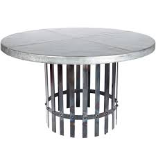 ashton iron dining table with 54 round hammered zinc top regard to designs 19