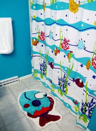 fish themed bathroom accessories small blue kids bathroom decorating ideas with amazing under sea theme pattern