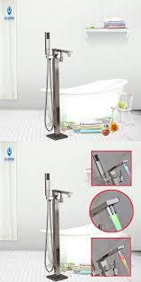 ulgksd led change bath floor standing shower faucet w hand shower of bathtub handles for elderly
