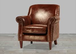 Hand Finished Vintage Leather Club Chair With Antique Brass Nailheads