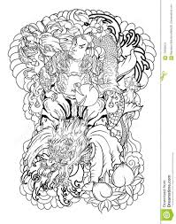 Japanese Samurai With Leaf And Dragon Tattoo Full Bodyhand Drawn