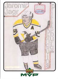 how to make your own trading cards 1999 00 upper deck mvp draw your own trading card jaromir jagr w14