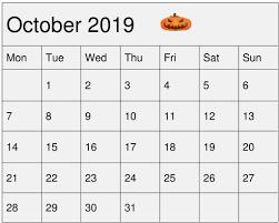 Free Clander Free Printable October 2019 Calendar Blank Template Free