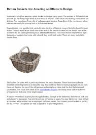One Design Home Baskets Rattan Baskets Are Amazing Additions To Design By