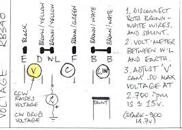 rb340 voltage regulator adjustment for rookies page 1 the this determines the charging voltage seen by the battery once wired up as per diagram run the dynamo to 4 500 rpm 2 800 engine rpm on my car and set the