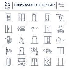Decorating door types pics : Doors Installation, Repair Line Icons. Various Door Types, Handle ...