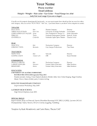Free Actor Resume Template Acting Resume Template High Point