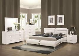 Details about STANTON-Ultra Modern 5pcs Glossy White Queen Size Platform Bedroom Set Furniture