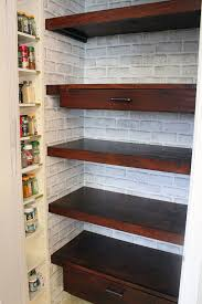 diy reach in pantry shelving replaced with wood built in shelves and pull out